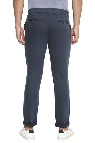 BASICS TAPERED FIT ORION BLUE STRETCH TROUSER-21BTR44756