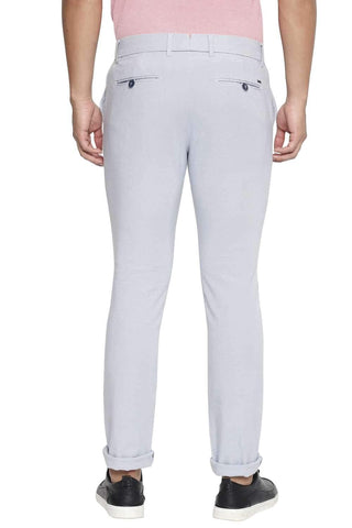 BASICS TAPERED FIT DUSTY BLUE STRETCH TROUSER-21BTR44758