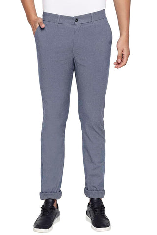 BASICS TAPERED FIT REAL TEAL NAVY STRETCH TROUSER-21BTR44763