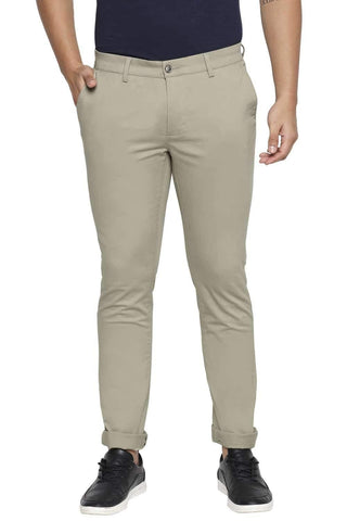 BASICS TAPERED FIT EUCALYPTUS BEIGE STRETCH TROUSER-21BTR45046