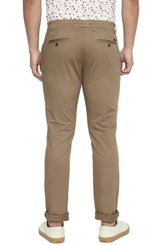 BASICS TAPERED FIT KANGAROO KHAKI STRETCH TROUSER-21BTR45048