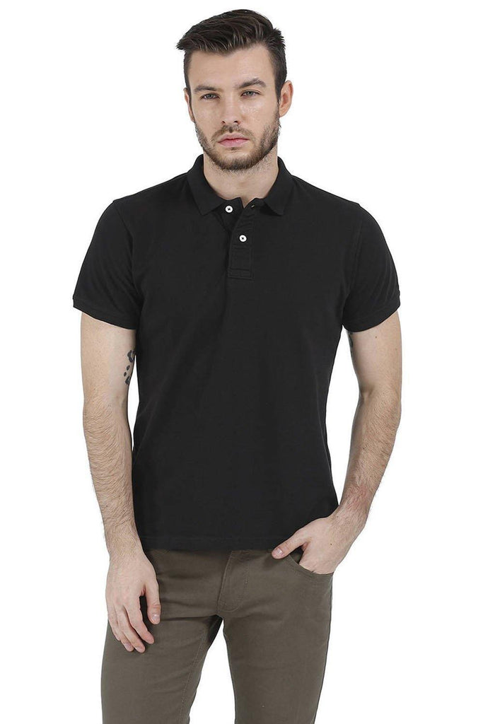 BASICS CASUAL PLAIN BLACK 100% COTTON MUSCLE T.SHIRT-15BCTS32493