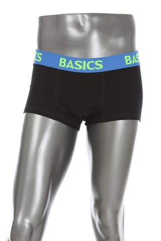BASICS CASUAL PLAIN BLACK COTTON ELASTANE TRUNK BRIEF-15BBF32464 - BasicsLife