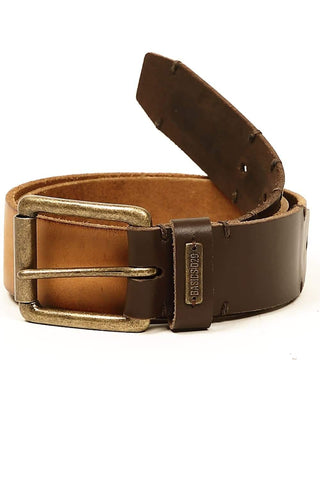 BASICS CASUAL PLAIN BROWN LEATHER BELT-14BBL30936 (4490974003281)