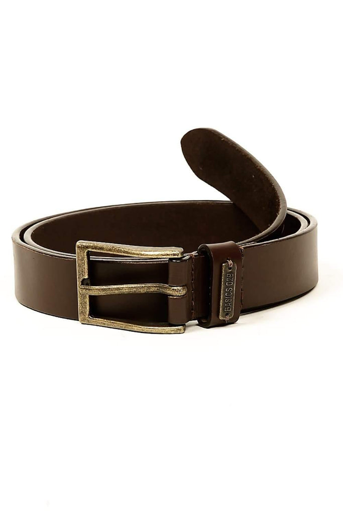 BASICS CASUAL PLAIN BROWN LEATHER BELT-14BBL30941 (4490976428113)