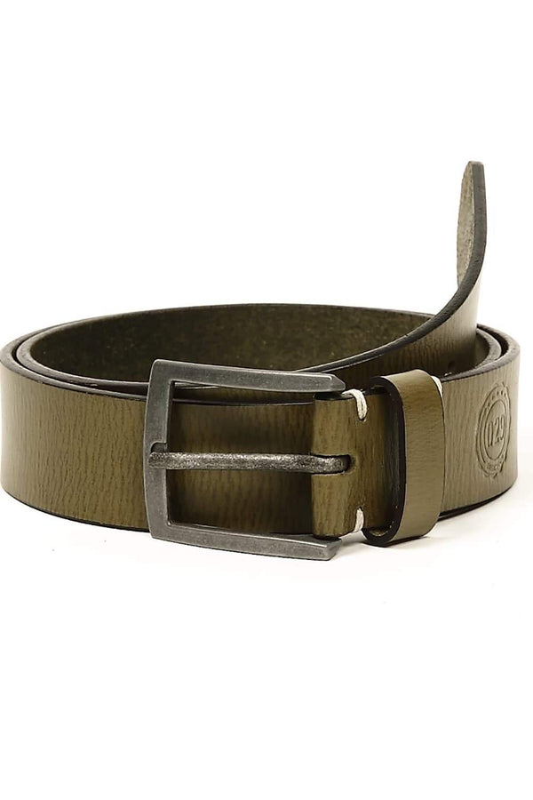 BASICS CASUAL PLAIN GREEN LEATHER BELT-14BBL30939 (4490960732241)