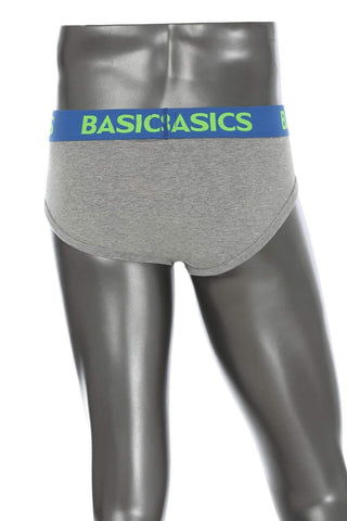 BASICS CASUAL PLAIN GREY COTTON ELASTANE HIP BRIEF BRIEF-15BBF32806 - BasicsLife