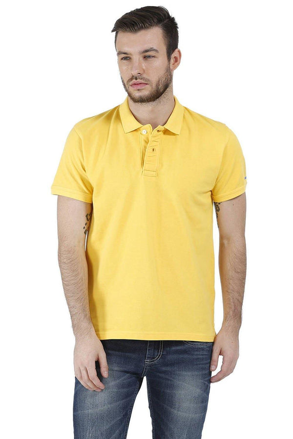 BASICS CASUAL PLAIN YELLOW COTTON MUSCLE T.SHIRT-15BCTS32487 (4490915315793)