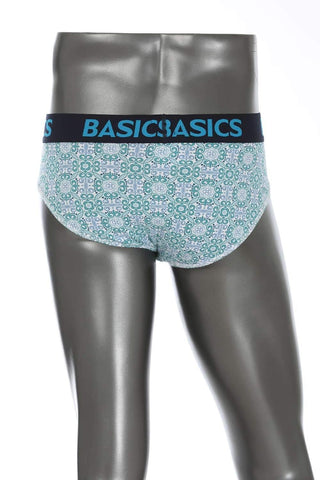 BASICS CASUAL PRINTED AQUA COTTON ELASTANE FASHION BRIEF BRIEF-15BBF32466 - BasicsLife