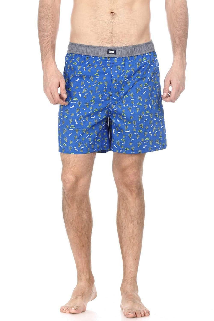 BASICS CASUAL PRINTED BLUE 100% COTTON COMFORT BOXER SHORTS-14BBX32049 (4490956210257)