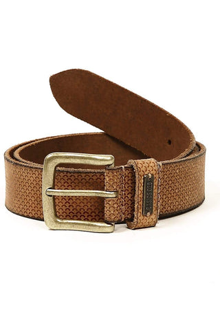 BASICS CASUAL PRINTED BROWN LEATHER BELT-14BBL30938 (4490975117393)