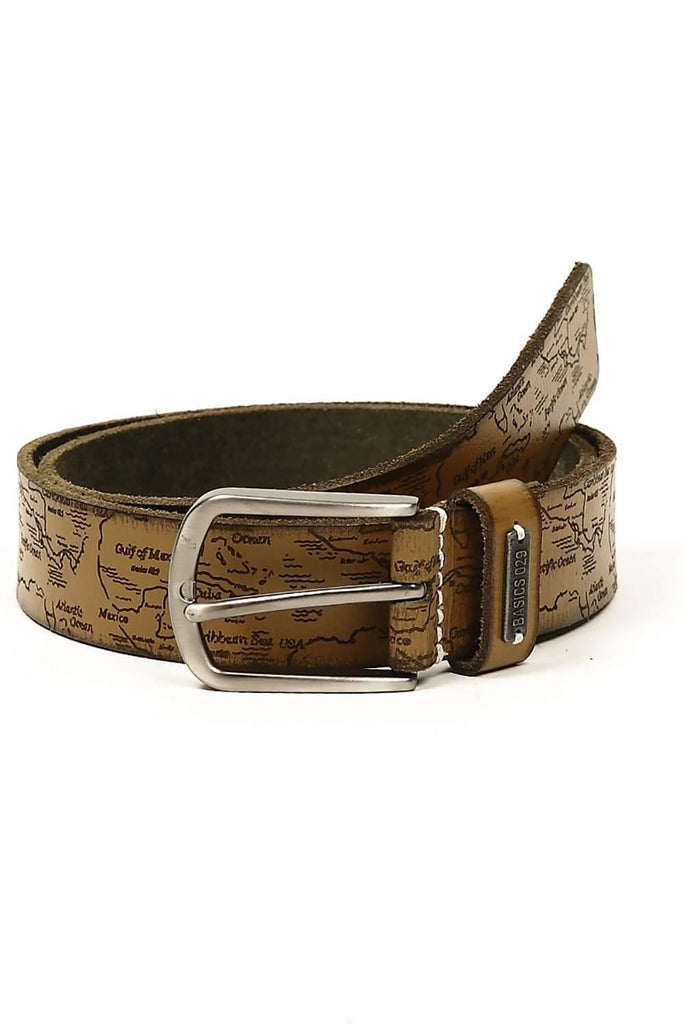BASICS CASUAL PRINTED GREY LEATHER BELT-14BBL30942