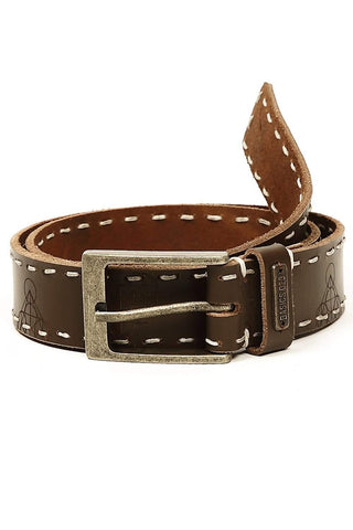 BASICS CASUAL PRINTED MID BROWN LEATHER BELT-14BBL30943 (4490977411153)