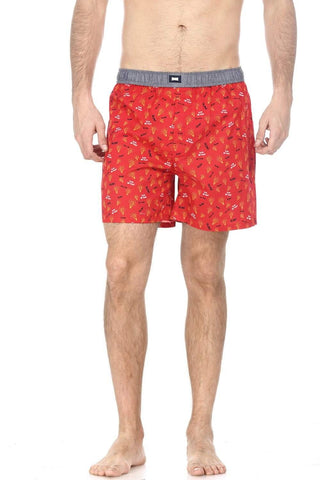 BASICS CASUAL PRINTED RED 100% COTTON COMFORT BOXER SHORTS-14BBX32050 - BasicsLife