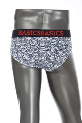 BASICS CASUAL PRINTED WHITE COTTON ELASTANE FASHION BRIEF BRIEF-15BBF32808 - BasicsLife