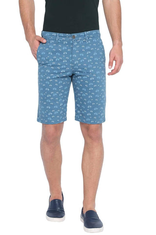 BASICS COMFORT FIT AEGEAM BLUE PRINTED COTTON SHORTS-19BSS40222 (4491559338065)