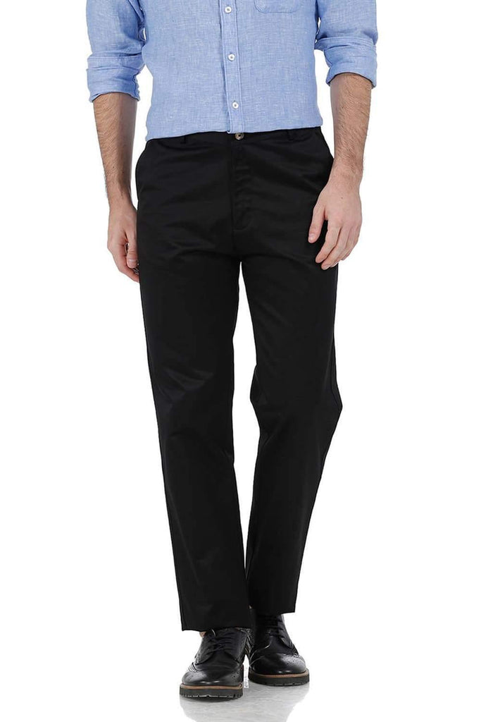 BASICS COMFORT FIT BLACK SATIN WEAVE POLY COTTON TROUSERS-17BCTR38176