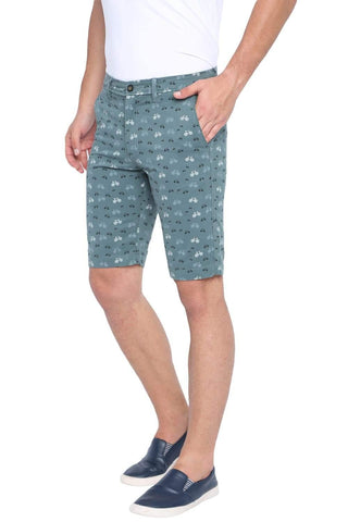 BASICS COMFORT FIT BLUE SAPHIRE PRINTED COTTON SHORTS-19BSS40221