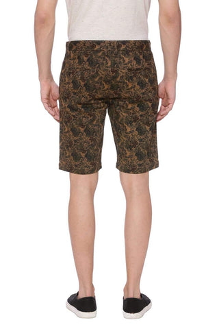 BASICS COMFORT FIT CHOCOLATE CHIP KHAKI PRINTED SHORTS-18BSS37550 (4491051991121)