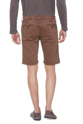 BASICS COMFORT FIT COCOA BROWN SHORTS-18BSS38071 (4491052875857)