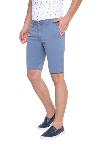 BASICS COMFORT FIT CORONET BLUE OVER DYED COTTON SHORTS-19BSS40229 (4491559534673)