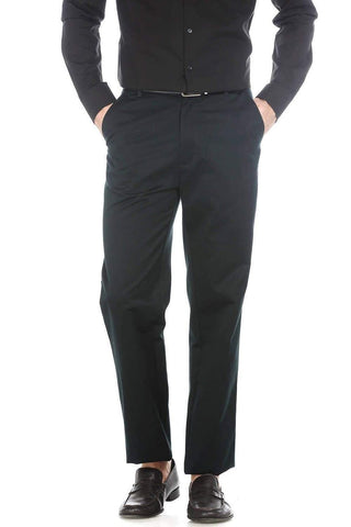 BASICS COMFORT FIT DARK GREEN SATIN WEAVE POLY COTTON TROUSERS-17BCTR38184 (4490929864785)