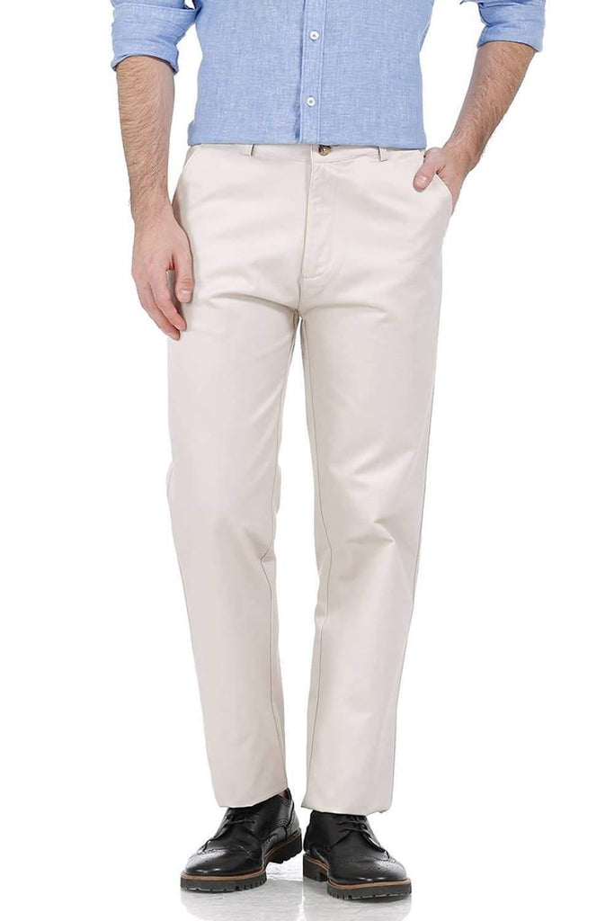 BASICS COMFORT FIT ECRU SATIN WEAVE POLY COTTON TROUSERS-17BCTR38183 - BasicsLife
