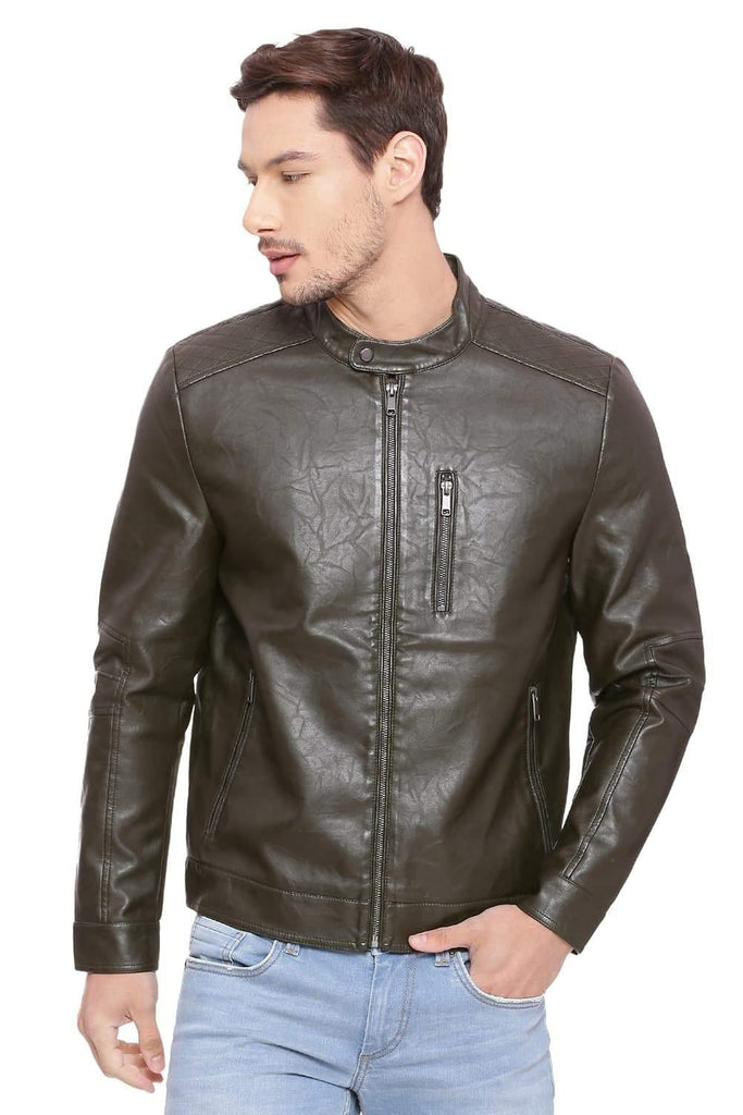 BASICS COMFORT FIT FOREST NIGHT FAUX LEATHER JACKET-18BJK39678 - BasicsLife
