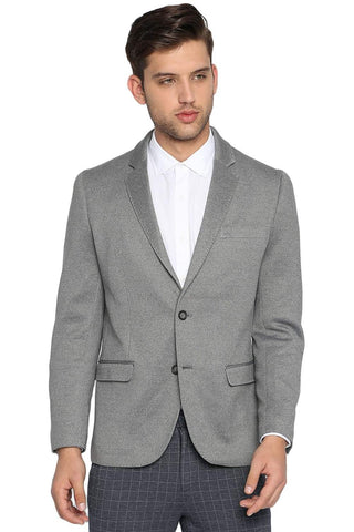 BASICS COMFORT FIT FROST GREY 2 BUTTON KNITTED BLAZER-19BBZ41239 (4491586273361)