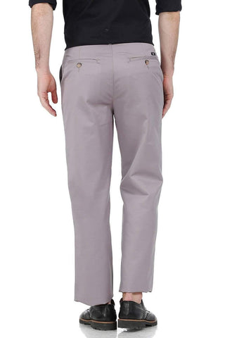 BASICS COMFORT FIT GREY SATIN WEAVE POLY COTTON TROUSERS-17BCTR38181 (4490927669329)