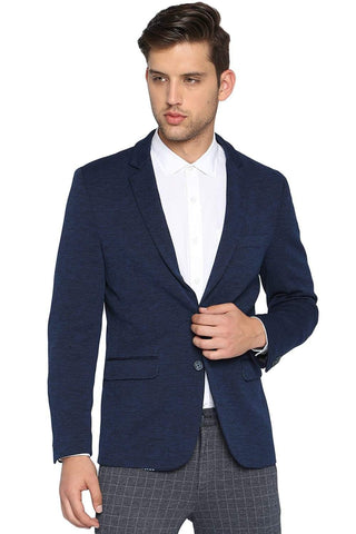 BASICS COMFORT FIT INSIGNIA BLUE 2 BUTTON KNITTED BLAZER-19BBZ41230 (4491560845393)