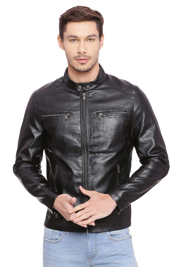 BASICS COMFORT FIT JET BLACK FAUX LEATHER JACKET-18BJK39695 (4491541905489)