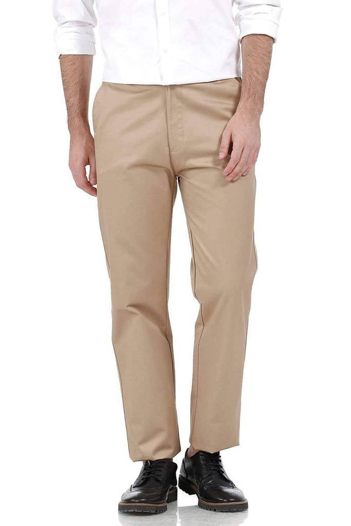 BASICS COMFORT FIT KHAKI SATIN WEAVE POLY COTTON TROUSERS-17BCTR38182 - BasicsLife