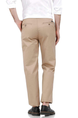 BASICS COMFORT FIT KHAKI SATIN WEAVE POLY COTTON TROUSERS-17BCTR38182 (4490928324689)