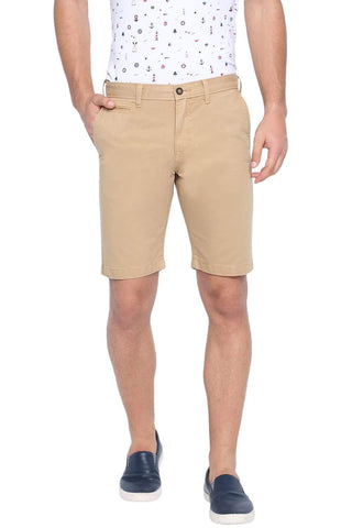 BASICS COMFORT FIT LARK KHAKI OVER DYED COTTON SHORTS-19BSS40230 (4491559567441)