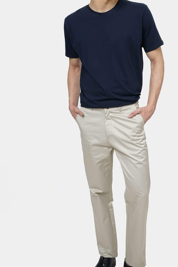 BASICS COMFORT FIT LIGHT GREY SATIN WEAVE POLY COTTON TROUSERS-17BCTR38185 (4490950213713)
