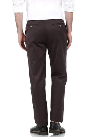 BASICS COMFORT FIT MID BROWN SATIN WEAVE POLY COTTON TROUSERS-17BCTR38180 (4490926850129)