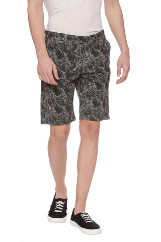 BASICS COMFORT FIT MOON MIST GREY PRINTED SHORTS-18BSS37551 (4491052056657)