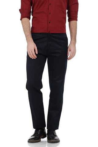 BASICS COMFORT FIT NAVY SATIN WEAVE POLY COTTON TROUSERS-17BCTR38177 - BasicsLife