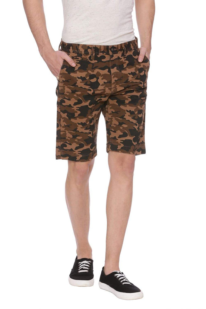 BASICS COMFORT FIT OTTER BROWN CAMO SHORTS-18BSS37539