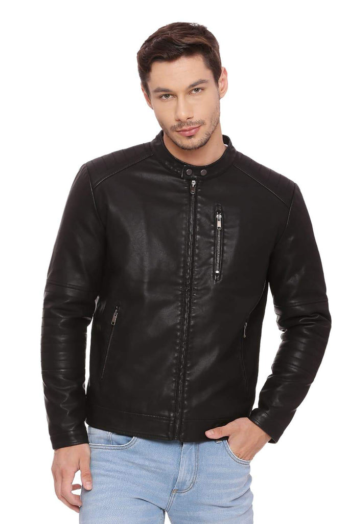 BASICS COMFORT FIT PHANTOM FAUX LEATHER JACKET-18BJK39675