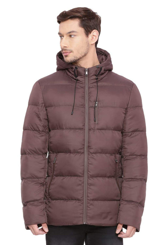 BASICS COMFORT FIT SEAL BROWN HOODED POLY FILL JACKET-18BJK39635 (4491537121361)