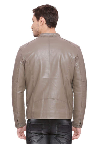 BASICS COMFORT FIT SHITAKE FAUX LEATHER JACKET-18BJK39696 (4491542298705)