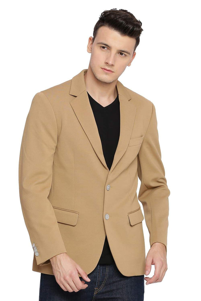 BASICS COMFORT FIT TAN 2 BUTTON KNIT BLAZER-18BBZ39543 - BasicsLife