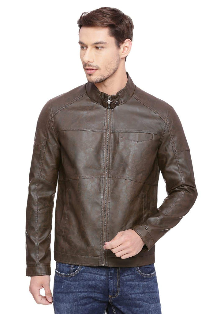 Basics Comfort Fit Thrush Faux Leather Jacket Front