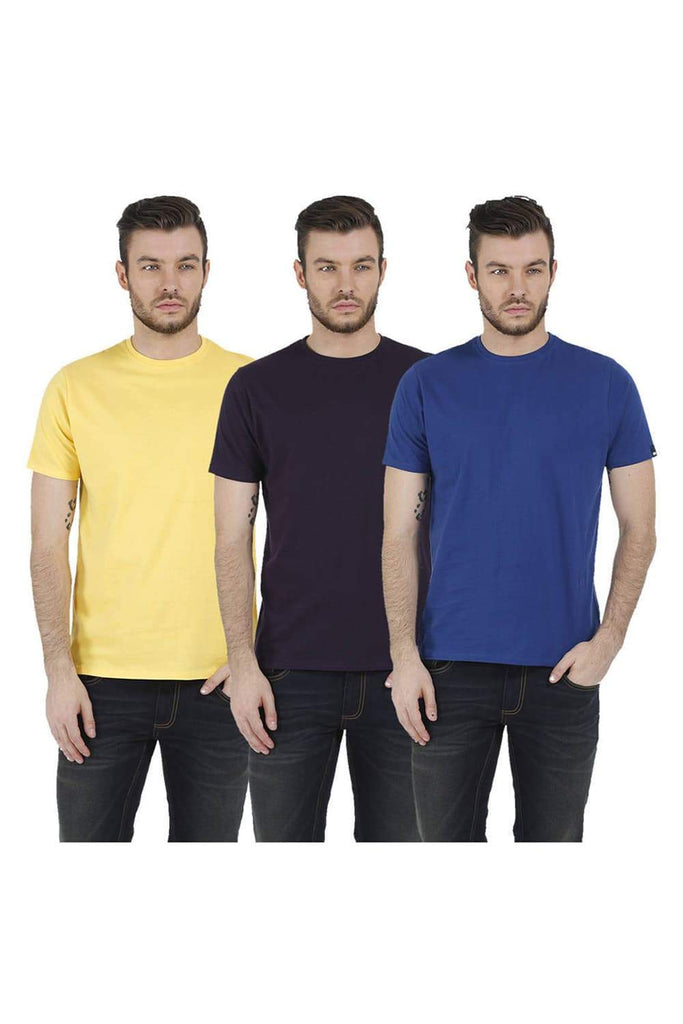 BASICS CREW NECK MUSCLE FIT HALF SLEEVES TEES-17BCTS38171 (4490947526737)