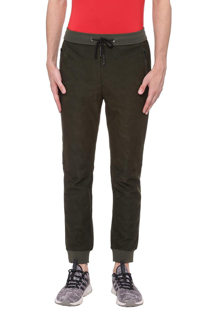 Basics Jogger Fit Beetle Green Track Pant Front
