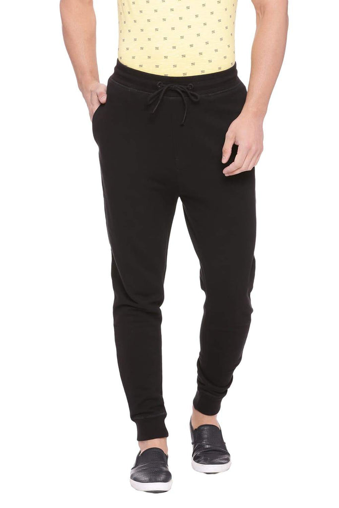 BASICS JOGGER FIT JET BLACK KNITTED TRACK PANT-18BTP39784 (4491272847441)