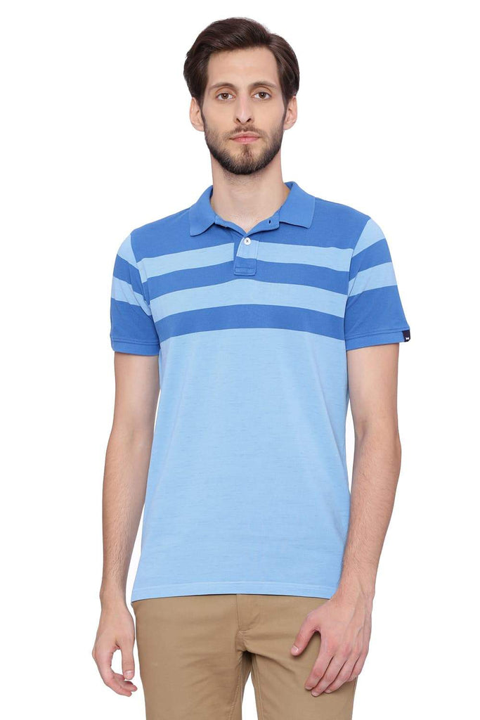 BASICS MUSCLE FIT ALASKAN BLUE STRIPES POLO T SHIRT-18BTS39403 (4491431149649)