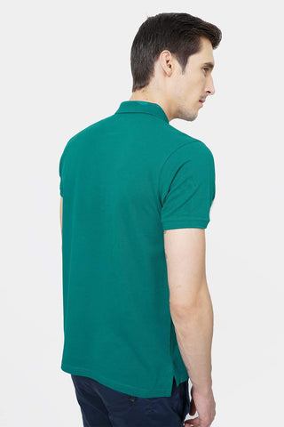 BASICS MUSCLE FIT ALPINE GREEN POLO T.SHIRT-18BTS41529 (4491520704593)